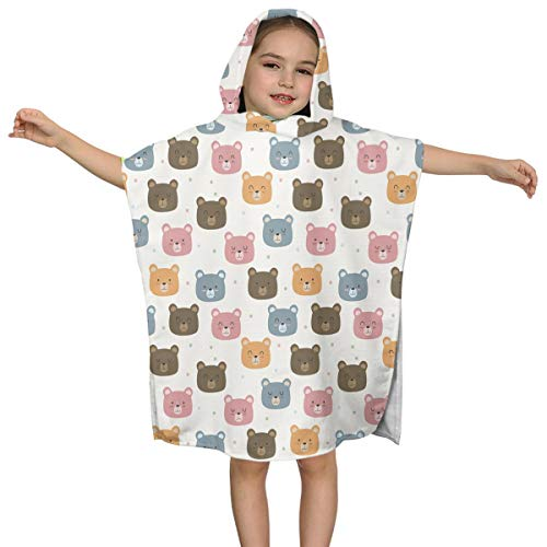 - ABY14-YJ Infant Baby Girls Hooded Bath Towel Baby Teddy Bear Faces Pattern Soft Bath Poncho Towel for Age 2-7 Years Bathrobe for Shower 24x48 in