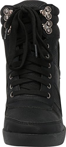 up Perforated Women's Toe Black Wedge Select Fashion High Hidden Closed Sneaker Top Lace Cambridge 6B4tqZn