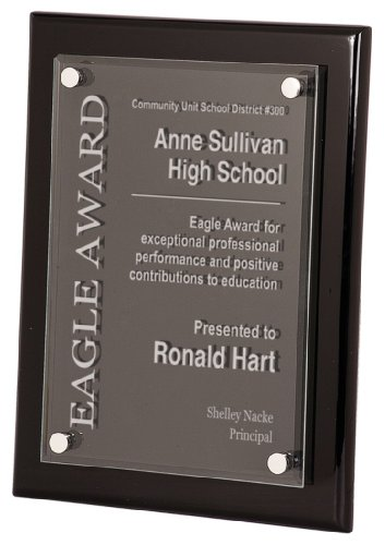 - 8 x 10 Black Piano Finish Floating Acrylic Plaque Award - BRAND NEW