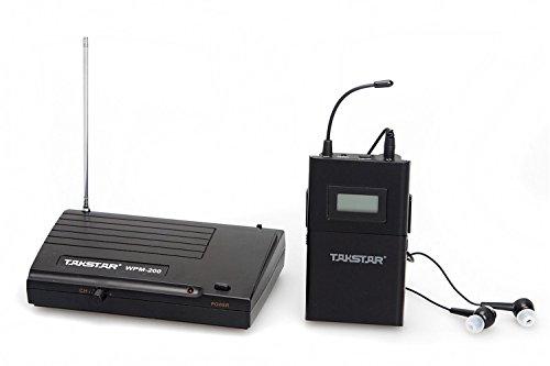 SeeSii Takstar WPM-200 UHF Wireless Monitor System Stereo In-Ear Funkkopfhörer&Kopfhörer Sender & Empfänger Set Ohrhörer 50M Reichweite mit einem Geschenk (WPM-200+Receiver)