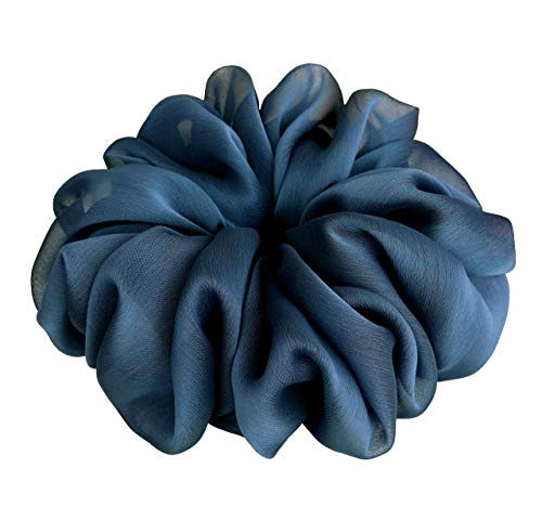 Moonlight Navy Blue Scrunchies for Hair Large Chiffon Fancy Accessories Headband Ponytail Holder Teen Girls Women ()