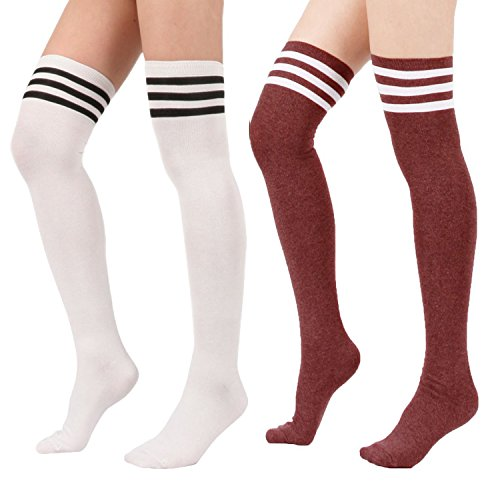 Zando Women's Cotton Athlete Triple Stripe Tights Over The Knee Thigh High Socks (Adult Care Bears Cheer Bear Costume)