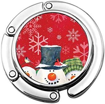 Portemonneehaak Kerstmis sneeuwvlok rood opvouwbare portemonnee bureauhaak handtas tafelhanger handtashanger