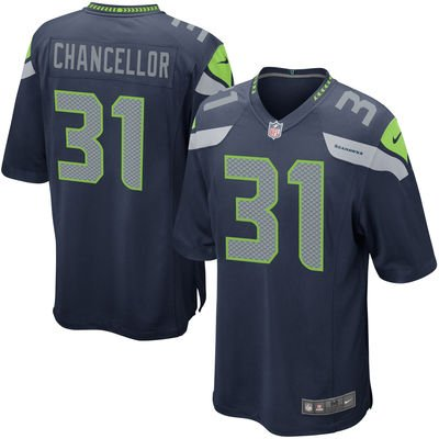 Kam Chancellor Unsigned Seattle Seahawks Blue Nike Jersey Size XL Stock #99200