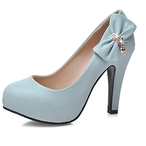 DecoStain Women's Spike High Heels Bow&Glitter Patent-Leather Pumps ()