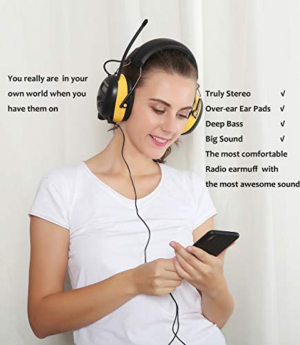 Digital AM/FM Radio Earmuff, ZOHAN TYPE-A Ear Protection With Stereo Radio, Perfect for Mowing (Yellow) by ZOHAN (Image #5)