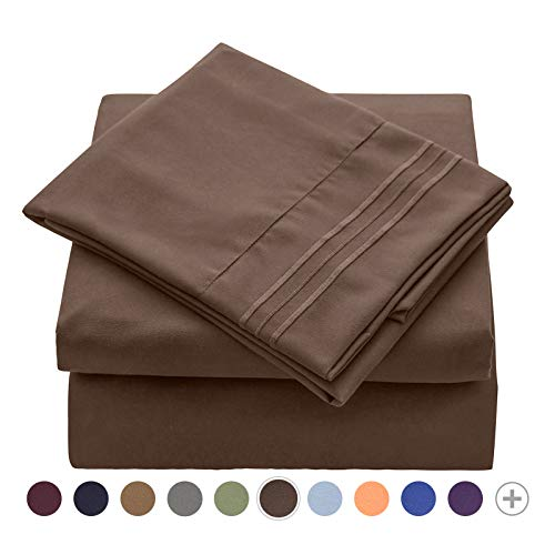 VEEYOO Sheets Set Queen Size Hotel Luxury - Extra Soft 1800 Microfiber Bed Sets, Wrinkle, Fade, Stain Resistant - Deep Pocket Fitted Sheet, Flat Sheet, Pillow Cases, 4 Piece Bed Sheets, Chocolate