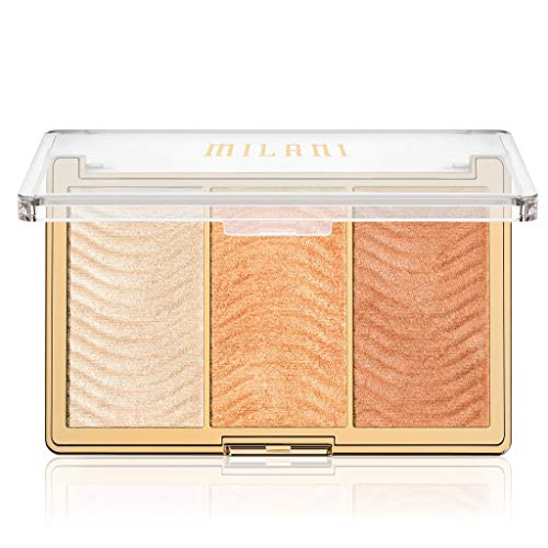 Milani Stellar Lights Highlighter Palette - Rose Glow (0.42 Ounce) 3 Vegan, Cruelty-Free Face Powders that Contour & Highlight for a Glowing Look