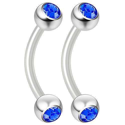 (Bling Piercing 2pc 16g Flexible Bioflex Curved Barbell Swarovski Crystal CZ Sapphire 8mm Bioplast JCurve Banana Bar)