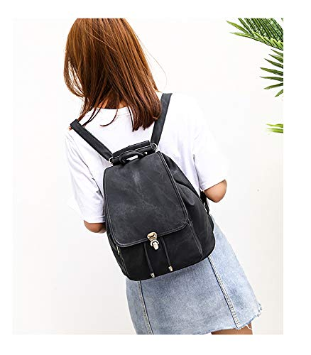 Ybriefbag Rucksack Lady Backpack PU Bag Lightweight Shoulder Black School Women Purse Leather Tote qnqAxZT