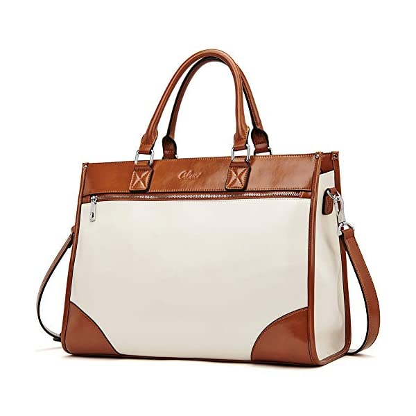 CLUCI Womens Briefcase Oil Wax Leather 15.6 Inch Laptop Business Vintage Ladies Large Capacity Shoulder Bag Beige with Brown 1