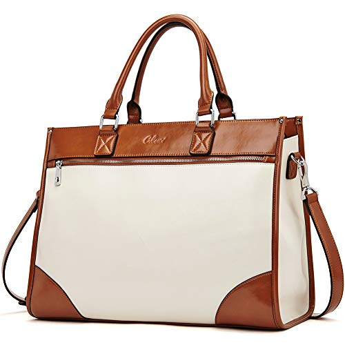- Womens Briefcase Oil Wax Leather 15.6 Inch Laptop Business Vintage Ladies Large Capacity Shoulder Bag Beige with Brown