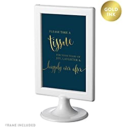 Andaz Press Framed Wedding Party Signs, Navy Blue with Metallic Gold Ink, 4x6-inch, Please Take A Tissue for Your Tears of Joy, Laughter and Happily Ever After, Double-Sided, 1-Pack