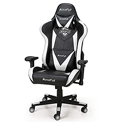 Gaming Chair, AutoFull Ergonomic Game Chair Body-Hugging Adjustable PU Computer Gaming Chair for Adults with Lumbar Support and Headrest by AutoFull