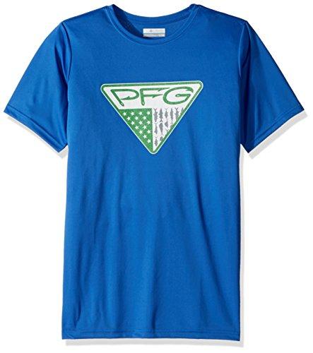 Columbia Boys PFG TriangleFill Short Sleeve Shirt, Vivid Blue Hooks Graphic, X-Small