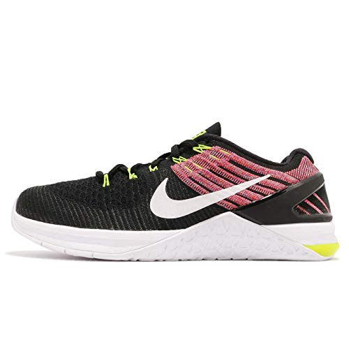 (Nike Metcon DSX Flyknit Size 10 Womens Cross Training Black/White-Volt-Chlorine Blue Shoes)