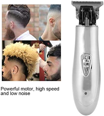 Electric Hair Trimmer, Professional Cordless Oil Head Hair Clipper, Household Hair Styling Barber Haircutting Tool - Silver  6cpjw