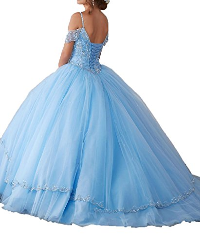Gowns Tulle Ball Sleeves champagne A Crystals Dresses DKBridal Long Cap Women's Quinceanera pAOqxHX
