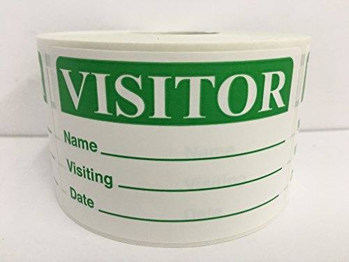 500 Labels GREEN 2x3 Visitor Name Tag Date Badge Tag Identification ID Stickers