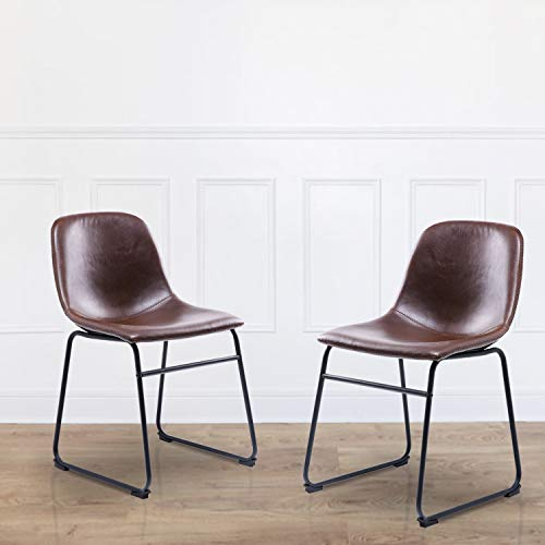 Rfiver Pu Leather Dining Side Chairs Mid Century Modern Style for Dining Room Living Room Bedroom Kitchen, Set of 2 in Antique Brown, BS1001