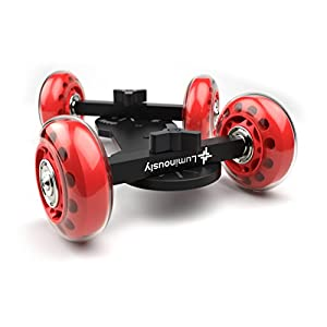 Luminously Camera Skate Dolly DSLR Rail Car Slider - Smooth Table Top Skater For Cameras (Red)