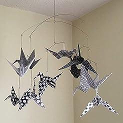 Modern Black and White Origami Bird Cran...