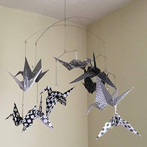 Amazon.com: Modern Black and White Origami Bird Crane Mobile ...