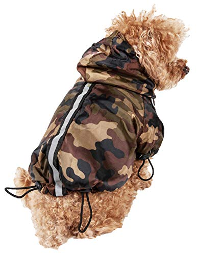 PET LIFE 'Reflecta-Sport' Fashion Insulated Adjustable and Reflective Windproof Water-Resistant Pet Dog Coat Jacket Rainbreaker w/ Removable Hood, Large, Camouflage