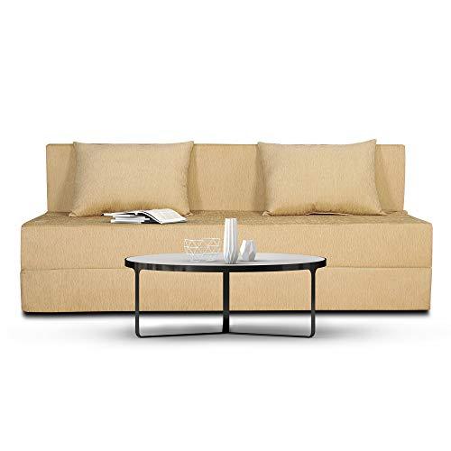Adorn India Foam Easy Three Seater Sofa Cum Bed Alyn 6 #39;x 6 #39;  Beige