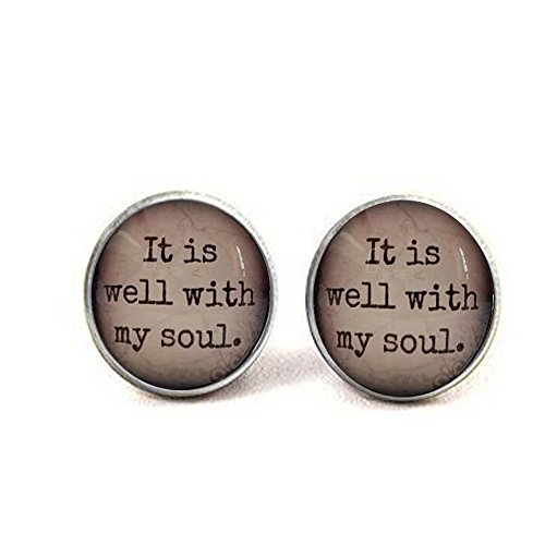 It is well with my soul, glass dome necklace, pendant, gift idea, hostess gift, favor, key ring, Hymn, religious gift (Best Halloween Hostess Gifts)