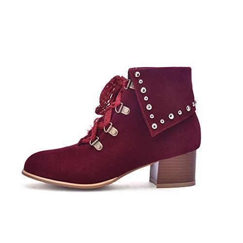 Top Claret up Heels Low Frosted Allhqfashion Boots Closed Lace Round Toe Women's Kitten wHgqgvB
