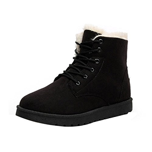 Short Lace Up Winter Boots (Black) - 3