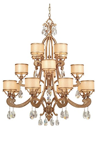 Roma Chandelier - 16-Light - Antique Roman Silver Finish with Cream Ice Glass and Crystal
