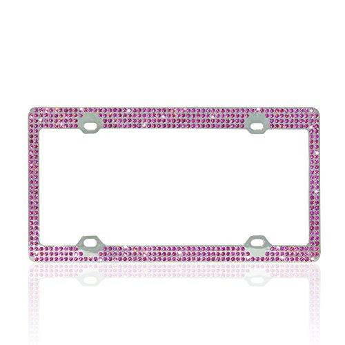 U-Faves Diamante License Plate Frame with Seven-Row Swarovski Rhinestones (Pink)