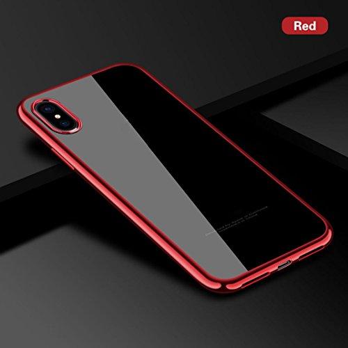 For iPhone Case , Livoty Ultrathin Plating Clear Slim Soft Silicone TPU Rubber Case Cover For Iphone X (Red)