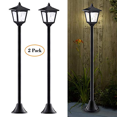 40 Inches Mini Solar Lamp Post Lights Outdoor, Solar Powered Vintage Street Lights for Lawn, Pathway, Driveway, Front/Back Door, Pack of 2 (Post Lights Solar Garden Lamp)