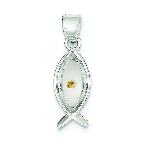 .925 Sterling Silver Enameled with Mustard Seed Ichthus Fish Charm Pendant