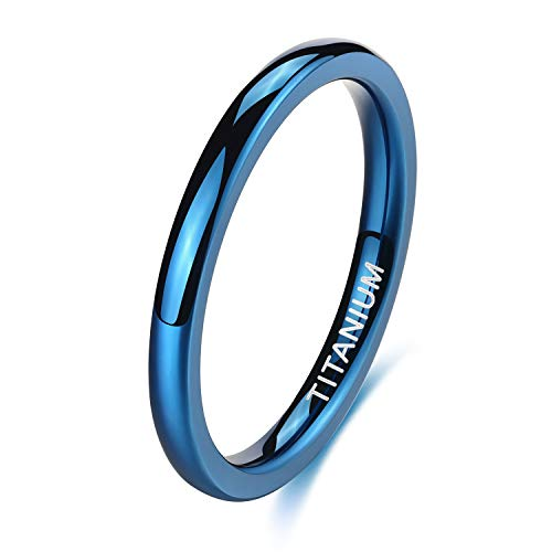 TIGRADE 2mm Titanium Ring Plain Dome High Polished Wedding Band Comfort Fit (Blue, 10.5)
