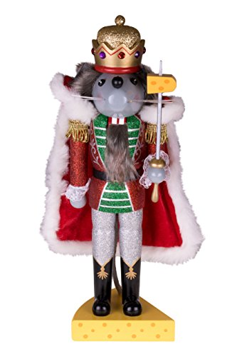 Clever Creations Traditional Wooden Mouse King Nutcracker Sword and Cheese Stand | Festive Christmas Decor | 14