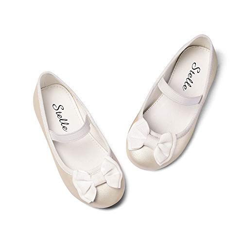 STELLE Girls Mary Jane Shoes Bow-Knot Slip-on Party School Dress Ballet Flat for Toddler Little Kids (Champagne, 7MT) for $<!--$24.99-->