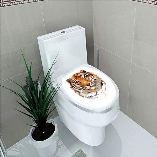 (Toilet Applique,Tiger,Feline Animal with Calming Stare Hand Drawn Watercolor Art Exotic Wildcat Hunter,Orange Black,Custom Sticker,W12.6