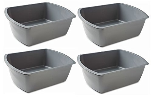 Vakly Rectangular Plastic Wash Basins, Gray, 8 Quart. (4)