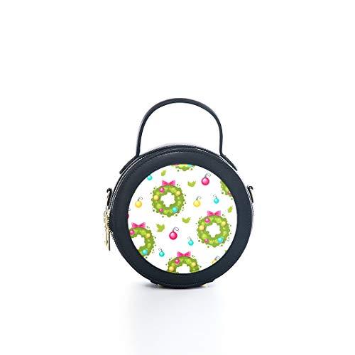 Fashion Microfiber&cowhide Zipper Round Packet Holiday Wreath Cartoon Romantic Atmosphere Christmas Design Print One Shoulder Cross-body Bags Handbag Small Round Wallet Circle Purse Clutch