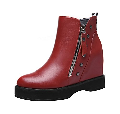 T&Mates Womens Trendy Cool Rivets Side Zipper Round Toe Hidden Wedge Heel Ankle Booties (8 (Red Solo Cup Costume For Sale)