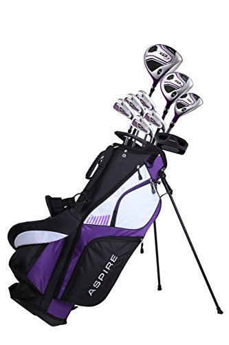 Aspire XD1 Ladies Womens Complete Golf Clubs Set Includes Driver, Fairway, Hybrid, 6-PW Irons, Putter, Stand Bag, 3 H C s Purple – 2 Sizes – 5 3 – 5 9 and Petite Size for 5 3 and Below