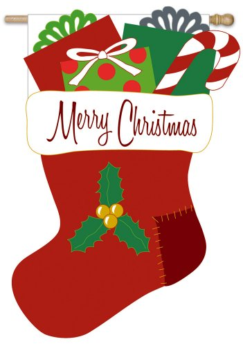 Regular Sized Flag Merry Christmas Stocking (Stocking Evergreen)