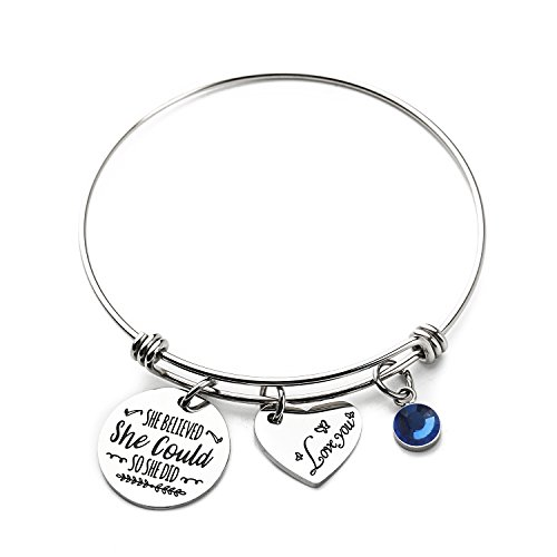 Haoze Birthday Gift Jewelry She Believed She Could So She Did Bangle Bracelet Inspirational Graduation Gift for Girl,Women (Sapphire-september) by Haoze (Image #4)