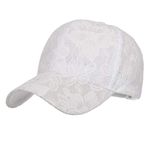 Women Ladis Embroidered Flower Baseball Cap,Fashion Adult Casual Sport Sun Hat Adjustable Caps (White)