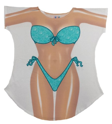 Seafoam Sparkle Bikini Cover-Up Ladies T-Shirt Size M/L -