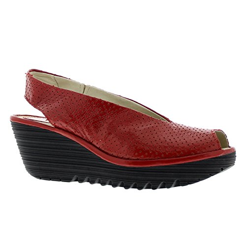 Fly London Womens Yazu 736 Leather Sandals Red